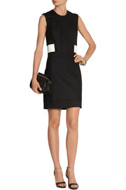 Helmut Lang Cutout leather-trimmed stretch-gabardine dress