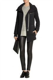 Helmut Lang Leather-trimmed wool-blend coat