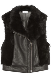 Shearling-trimmed leather gilet