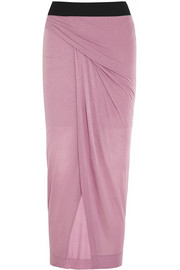 Wrap-effect jersey maxi skirt
