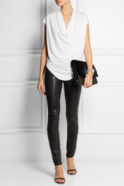 Helmut Lang Draped cotton-blend jersey top
