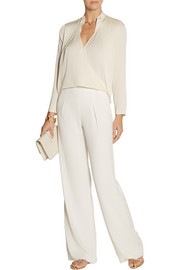 Halston Heritage Faux leather-trimmed stretch-woven wide-leg pants