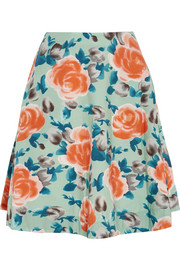 Jerrie Rose floral-print cotton-poplin skirt