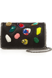 Stella McCartney The Falabella embellished faux brushed-leather shoulder bag