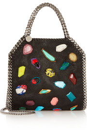Stella McCartney The Falabella mini embellished faux brushed-leather shoulder bag