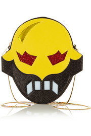 Superhero snake-effect faux leather shoulder bag