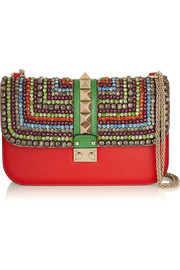 Valentino Lock medium crystal-embellished leather shoulder bag