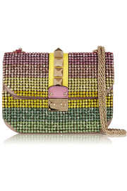 Valentino Glam Lock small Swarovski crystal-embellished leather shoulder bag
