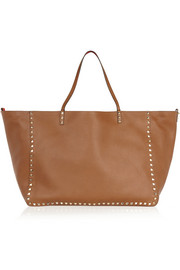 The Rockstud reversible large textured-leather trapeze bag