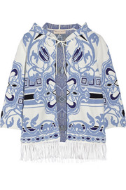 Fringed cotton-blend jacquard coverup