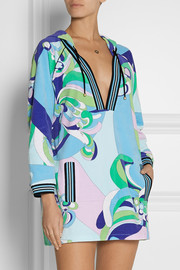 Emilio Pucci Hooded printed cotton-blend terry tunic