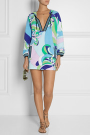 Hooded printed cotton-blend terry tunic