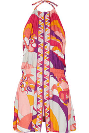 Printed jersey halterneck dress