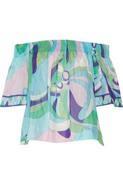 Emilio Pucci Printed cotton and silk-blend voile top