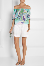 Printed cotton and silk-blend voile top