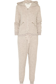 Hooded cotton French terry jumpsuit