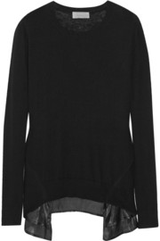CLU Satin-trimmed cashmere sweater