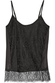 Lace and washed-silk camisole