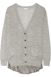 CLU Lace and satin-trimmed cashmere cardigan