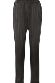 Washed-silk tapered pants
