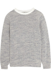 Silk-trimmed French terry sweater