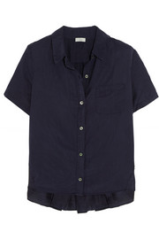 CLU Ruched silk and cotton-blend shirt