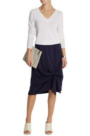 Knotted silk and cotton-blend skirt