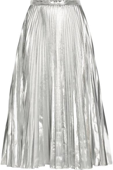 304fc770f1 DKNY | Pleated metallic taffeta midi skirt | NET-A-PORTER.COM