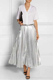 DKNY Pleated metallic taffeta midi skirt