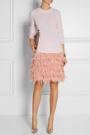 DKNY Feather and silk mini skirt
