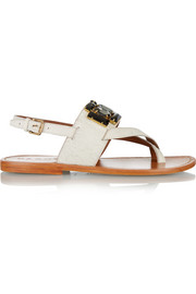 Crystal-embellished calf hair sandals
