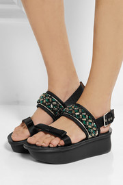 Marni Embellished satin and leather wedge sandals