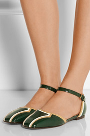 Patent-leather Mary Jane flats