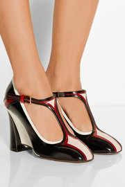 Marni Leather Mary Jane wedge pumps