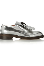 Fringed mirrored-leather brogues