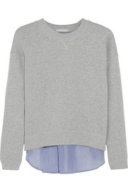 Paneled cotton-terry sweatshirt
