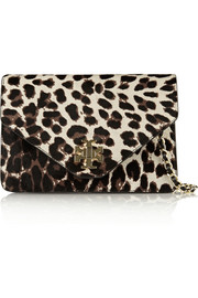 Kira leopard-print calf hair and leather shoulder bag