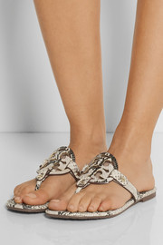 Tory Burch Miller snake-effect leather sandals