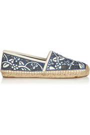 Tory Burch Lucia silk-embroidered leather espadrilles
