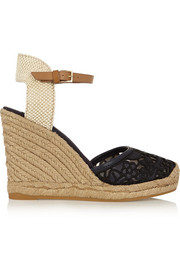 Lucia leather and canvas wedge espadrilles