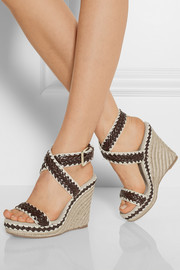 Tory Burch Paloma leather and linen wedge sandals