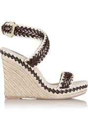 Paloma leather and linen wedge sandals