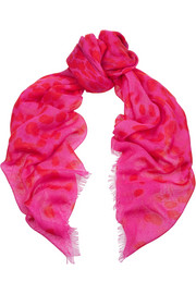 Leopard-print wool and silk-blend scarf