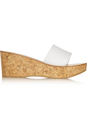 Kirielle leather and cork wedge slides