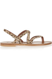 Marathon leopard-print calf hair sandals