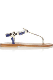 K Jacques St Tropez Picon Andry printed snake-effect leather sandals