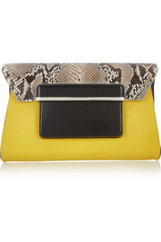Python and textured-leather clutch