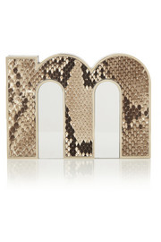 Mary Katrantzou M python and acrylic clutch