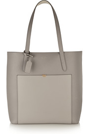 North/ South textured-leather tote