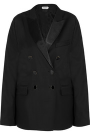 Satin-trimmed wool-blend gabardine blazer